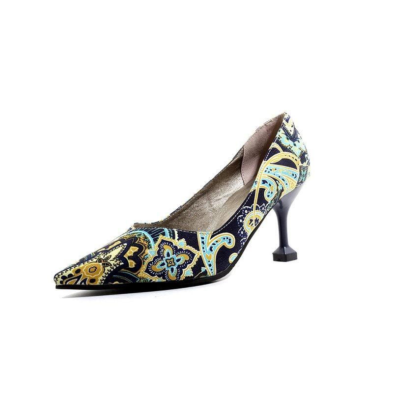 Slip On Pointed Toe Print Floral 7.5cm Thin Women Pumps