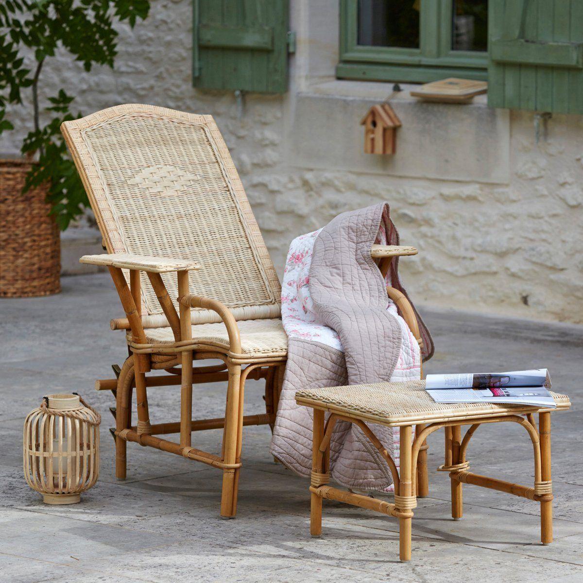 Chaise longue + repose-pieds rotin, KOK,Nantucket | Deco ...