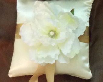 Wedding Pillow White satin Ring Bearer Pillow by MartiMaginnis