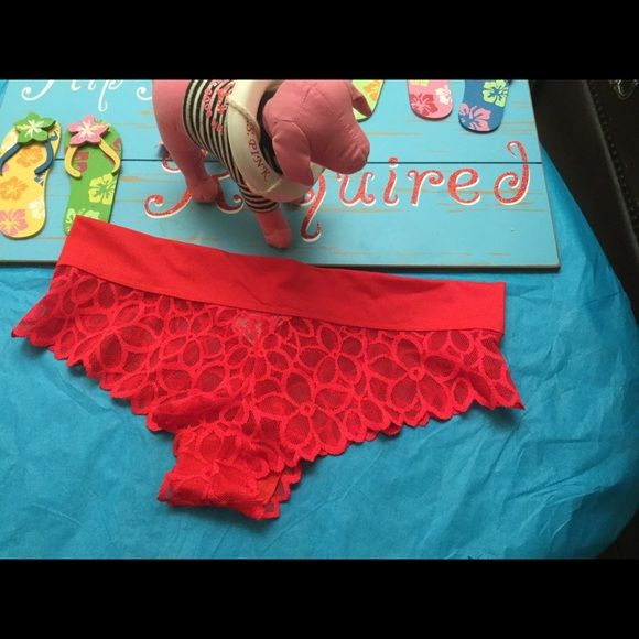 NWT VS  PINK panty size medium New with tags extra low rise Cheeksters. Color red size medium PINK Victoria's Secret Intimates & Sleepwear Panties