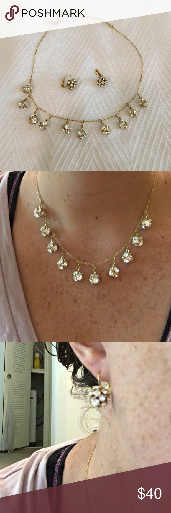 Kate Spade Disco Necklace and Earring Set Fun and beautiful set! Small white stones on small gold balls kate spade Jewelry Necklaces