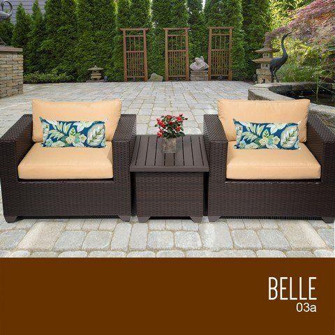 Outdoor Living Tkc Belle 3 Piece Outdoor Wicker Patio Furniture