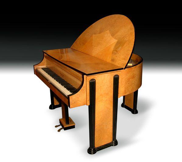 Strohmenger art deco grand piano ca 1930 walnut art deco for Piani art deco