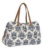 SIX weiße Canvas Shopper Tasche blaues Paisley Muster braune Details (427-171)