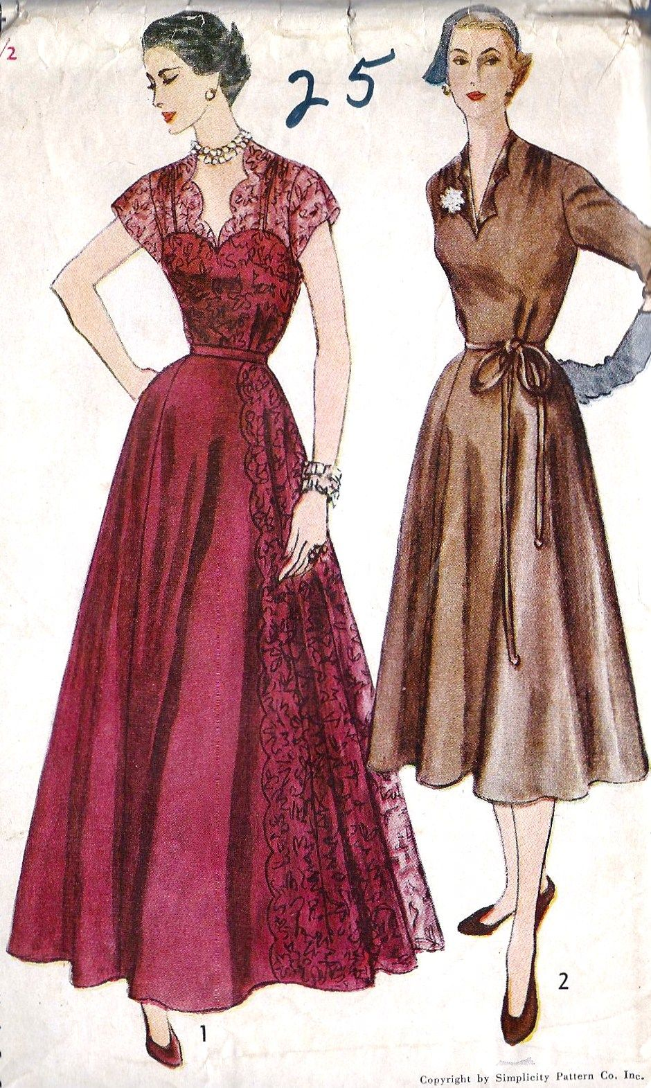 Smitten with the lace dress on the left vintage sewing pattern