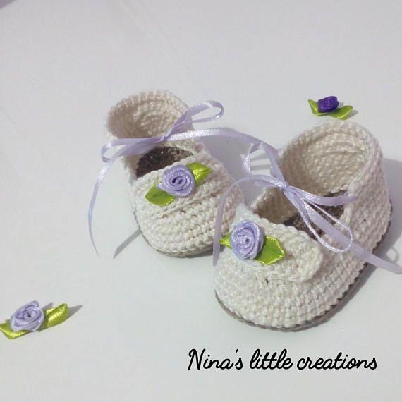 Crochet baby shoes with cotton yarn   Zapatos de chico, El regalo ...