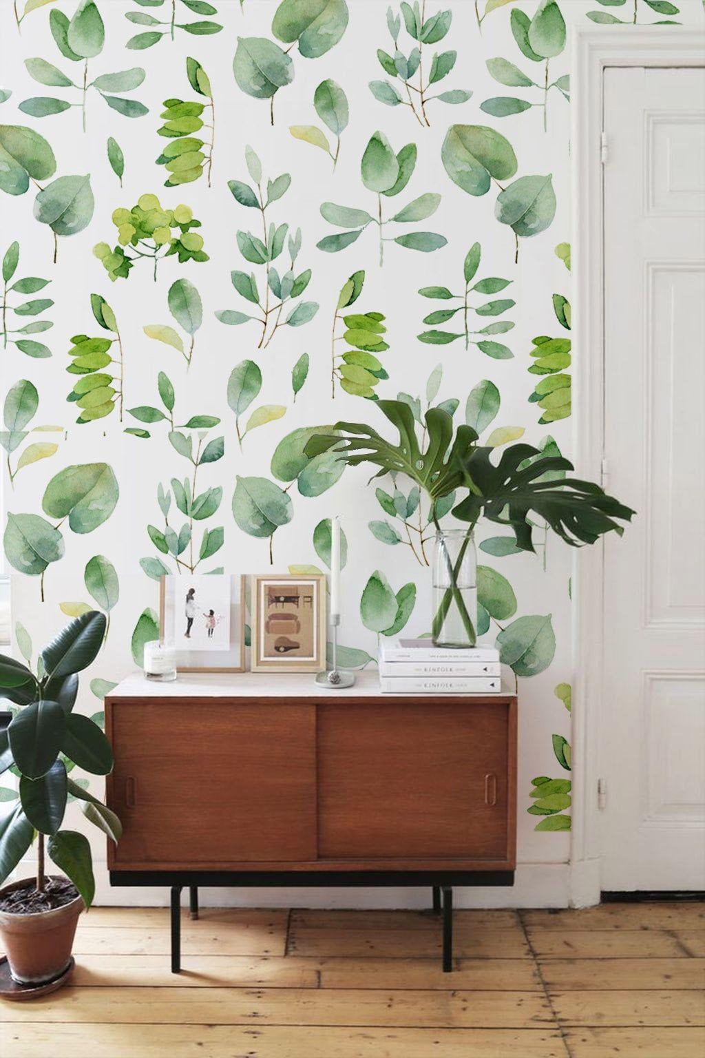 Watercolor Botanical Peel And Stick Wallpaper Greenery Etsy Wall Murals Diy Greenery Wallpaper Wall Wallpaper