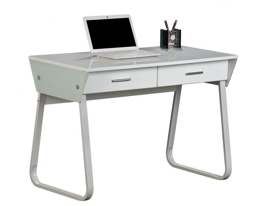 Bureau informatique arpent tiroirs verre trempé blanc