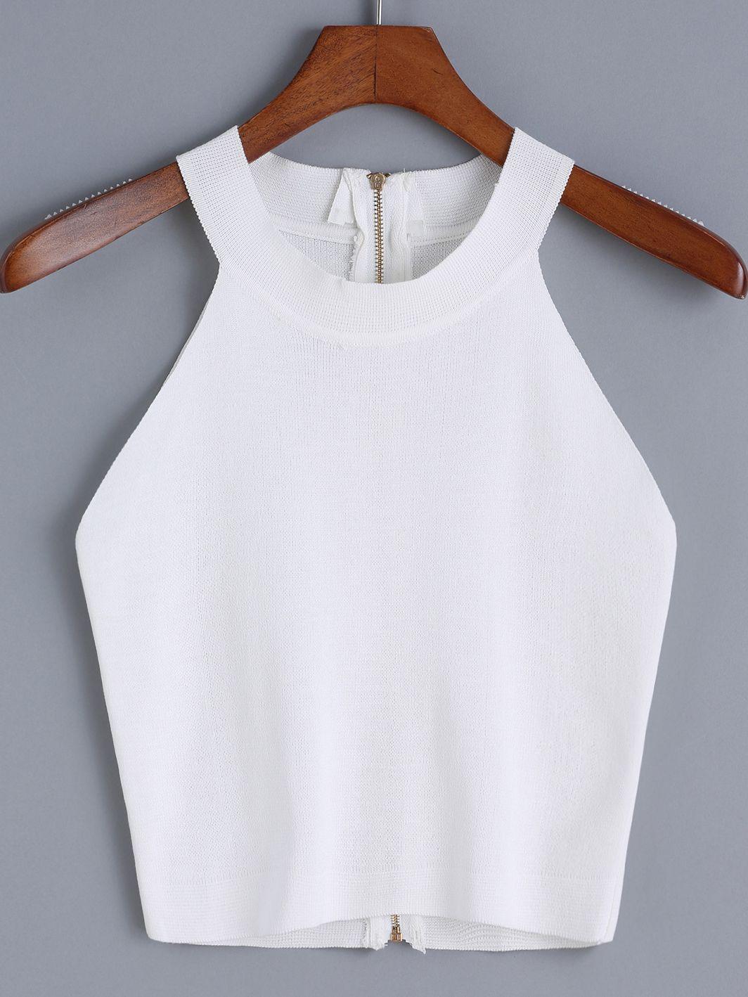 Halter Zipper Knit Cami Top | MakeMeChic.COM | мY CLoѕEт pLeAѕe ...