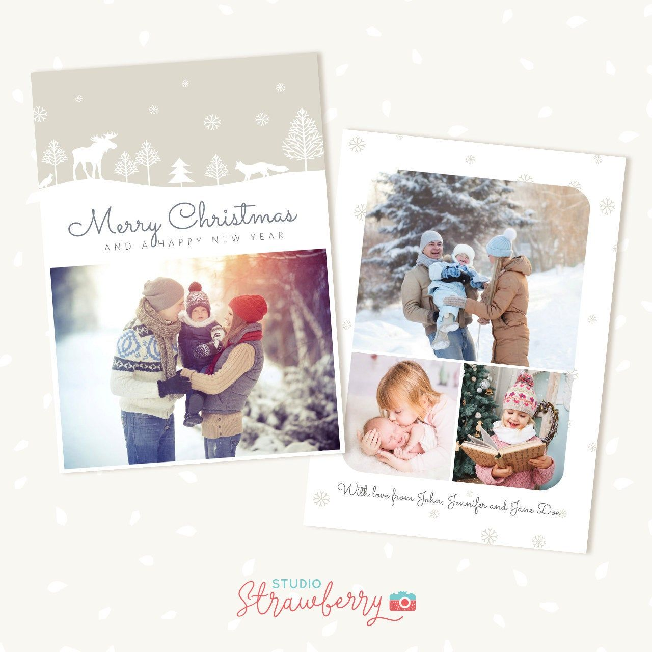 Christmas Photo Cards 5 X 7 Christmas Card Template Holiday Card Template Christmas Greeting Cards Photo Christmas Cards Woodland