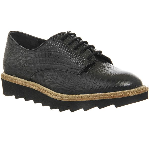Office Razor Gator Sole Lace Ups Womens Flats Black Lizard Leather