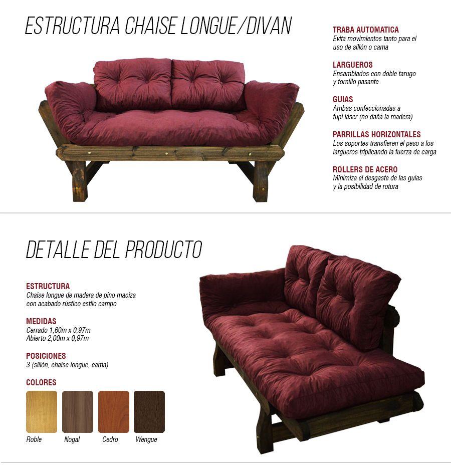 Sofa Divan Futon Sillon Cama Convertible Chaise Long Premium - $ 2.599,00