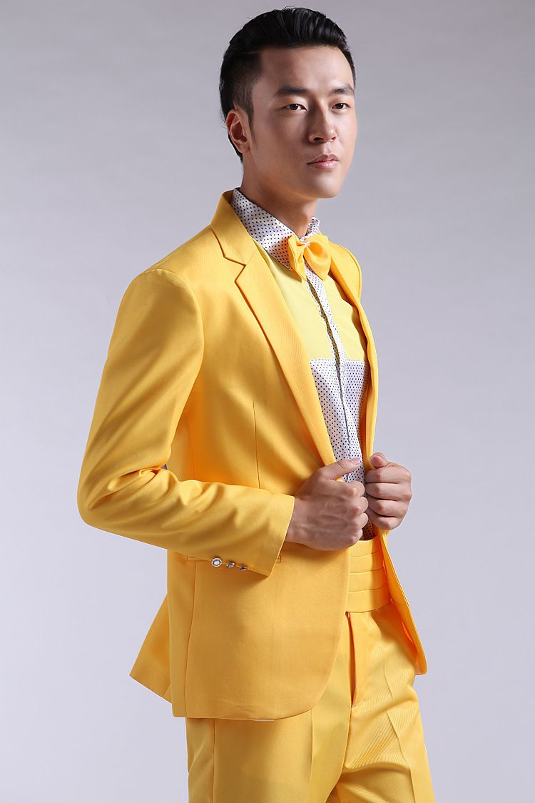 Click to Buy << Latest Coat Pant Designs Yellow Formal Men Suit ...