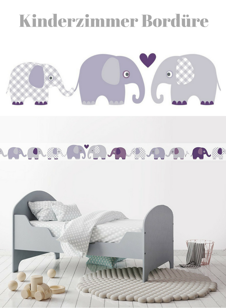 bord re selbstklebend elefanten aubergine grau wandbord re kinderzimmer babyzimmer mit. Black Bedroom Furniture Sets. Home Design Ideas
