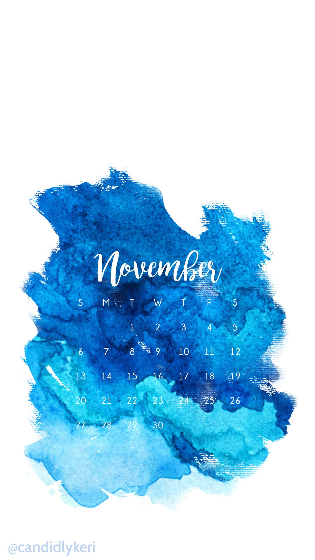 Dark Blue Light Blue Ocean Watercolor November Calendar 2016