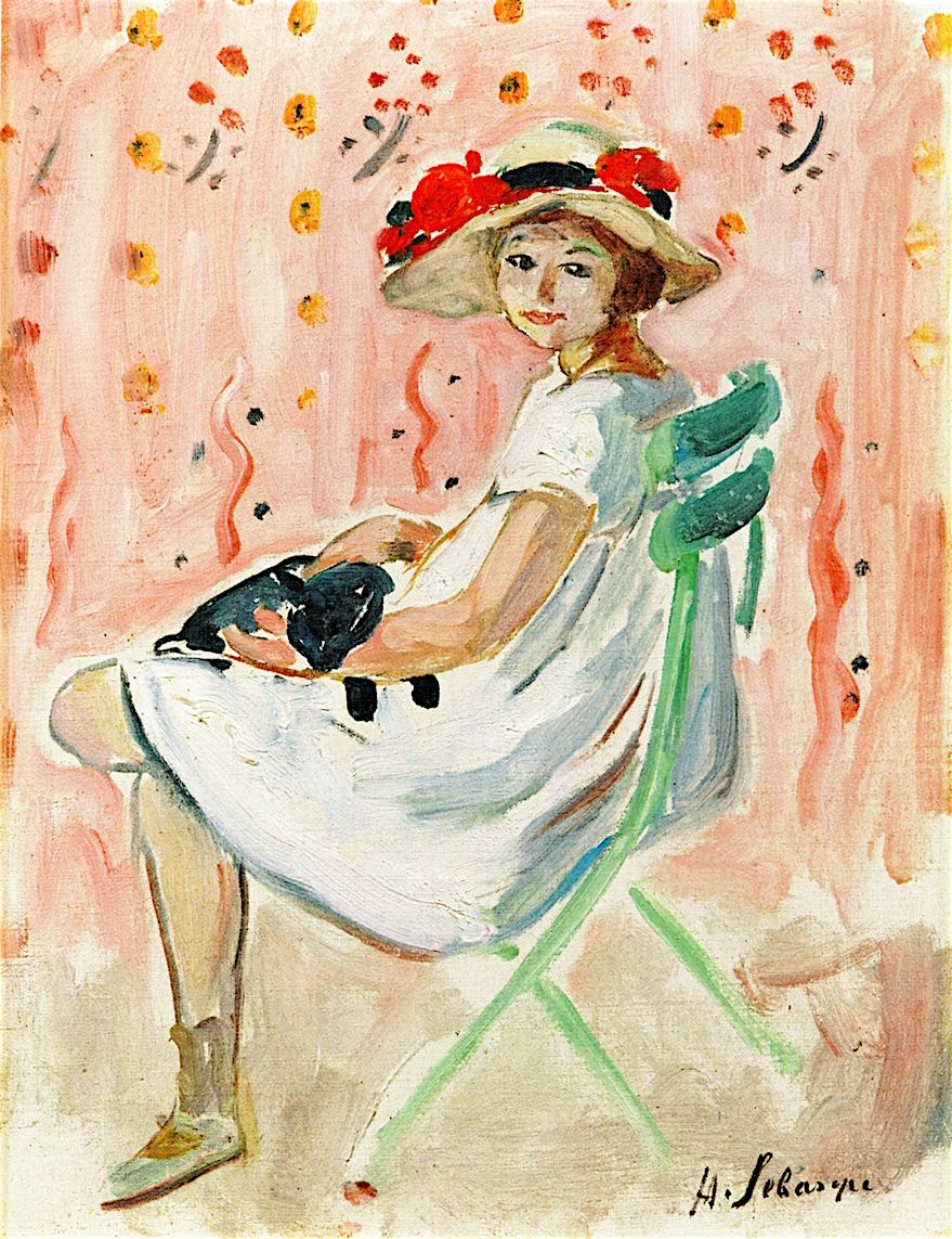 The Athenaeum - Girl and Cat (Henri Lebasque - )