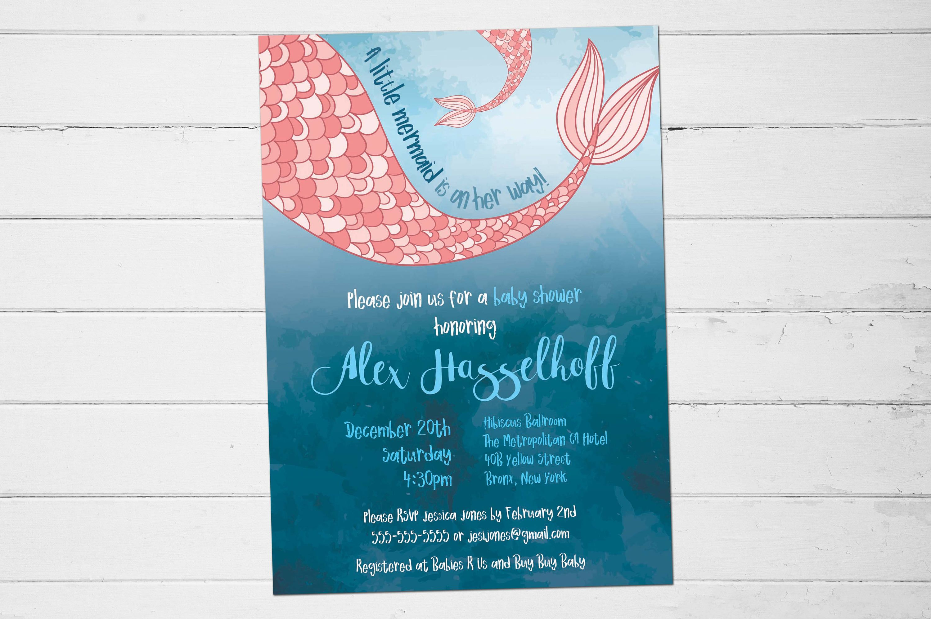 15 Awesome Mermaid Baby Shower Invitations | Invitation Example