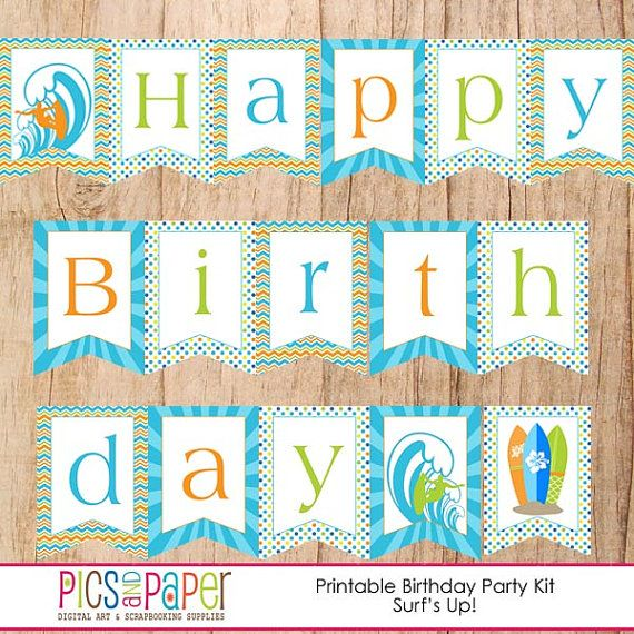 Surf Theme Hy Birthday Banner With Surfboards Wave Surfer Printable Bunting For Or Beach Party