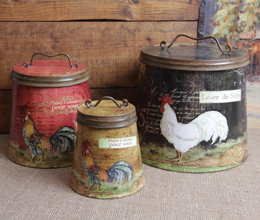 rooster home decor shabby country chic rooster tin canister set