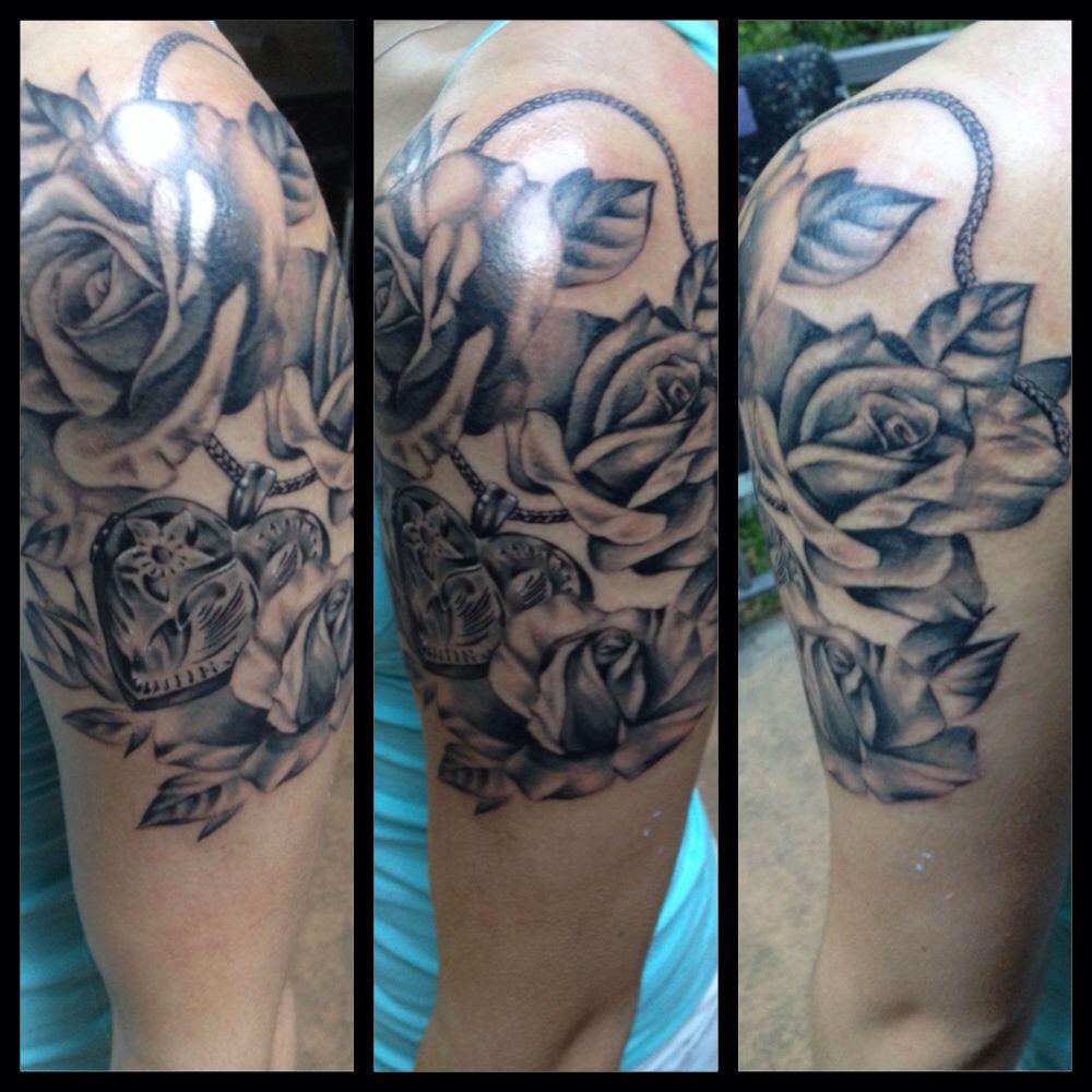 My Memorial Tattoo For My Nana And Papa 3 Love The Roses And My Locket Memorial Tattoo Tattoos Flower Tattoo