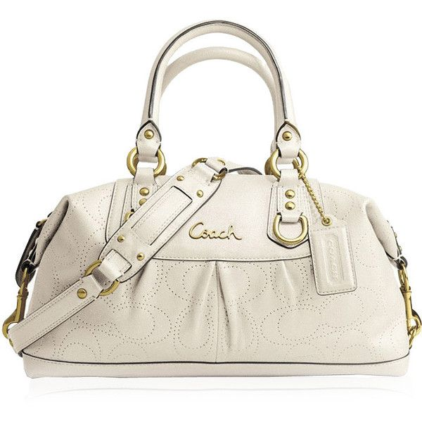 d1a0c291ded Coach White Handbag Ashley Perforated Leather Satchel F17130 (C278) ($489)  ❤ liked on Polyvore