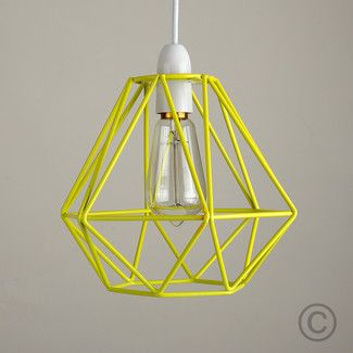 Strongminisunstrong 20cm diablo metal wire frame ceiling pendant modern yellow metal wire frame ceiling light pendant shade industrial lightshade in home furniture diy lighting ceiling lights chandeliers greentooth Images