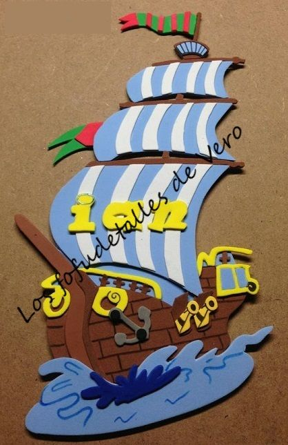Cartel con nombre en goma eva barco pirata  CARTELES CON NOMBRE