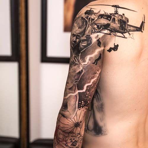 War In The Vietnam Sleeve Tattoos Full Arm Tattoos Retro Tattoos