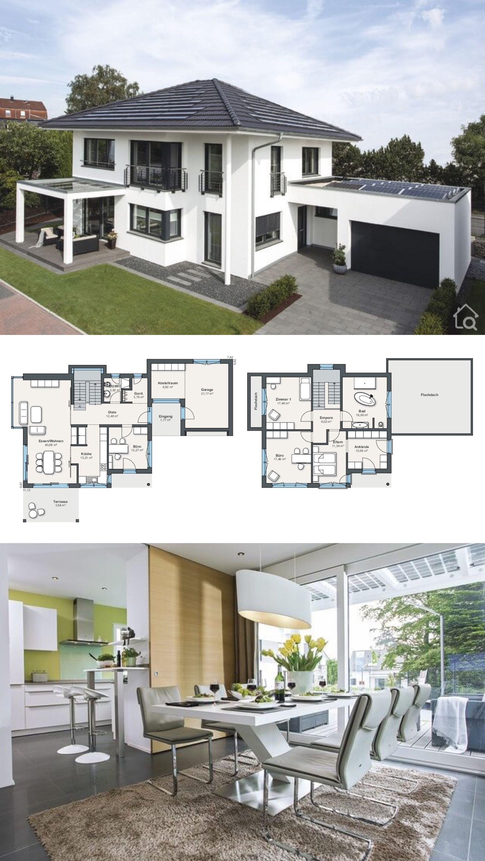 Moderne Stadtvilla mit Garage & Walmdach bauen, 5 Zimmer