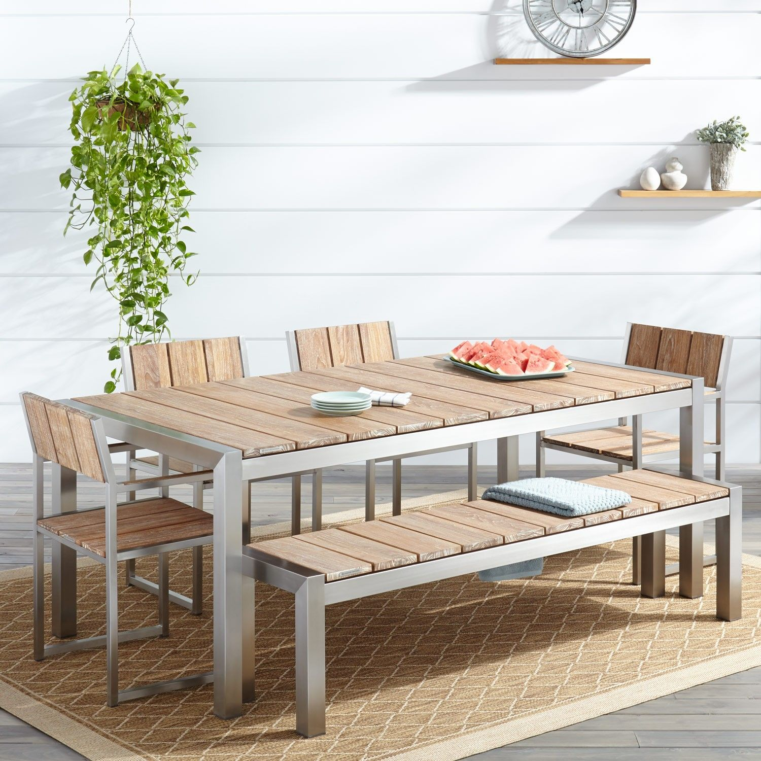 Macon 6 piece rectangular teak outdoor dining table set whitewash