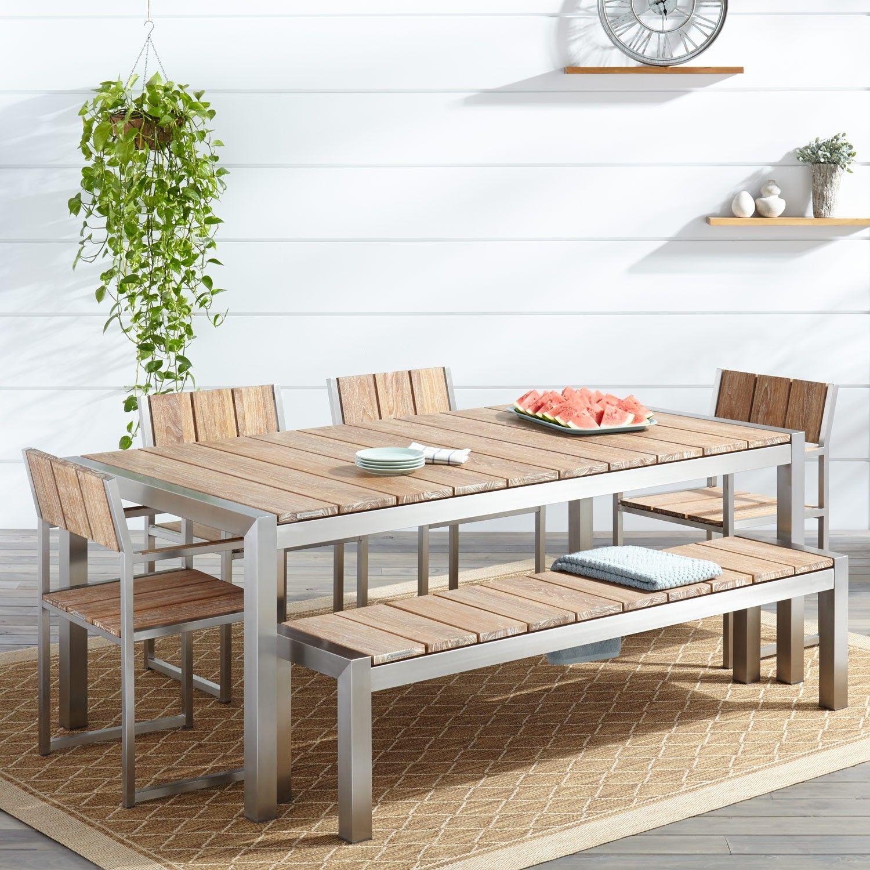 Macon 6 Piece Rectangular Teak Outdoor Dining Table Set