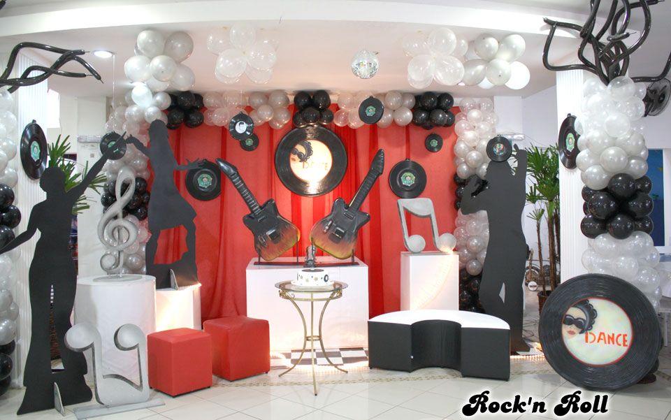 rock 39 n roll muita festa decora es temas pinterest fiestas fiestas tem ticas y cumple. Black Bedroom Furniture Sets. Home Design Ideas