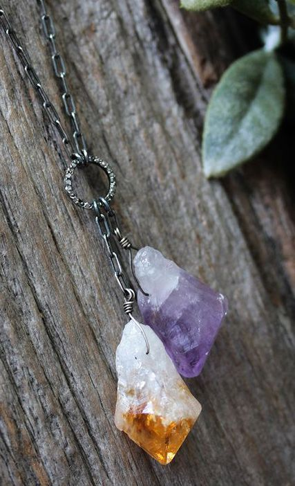Diamond Citrine Amethyst Necklace