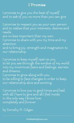 I Promise Wedding Poemswedding