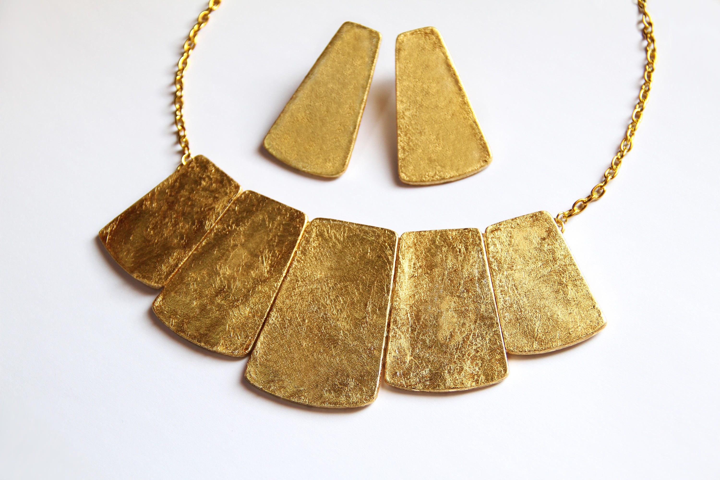 Gold bib necklace statement jewelry lightweight necklace bib gold