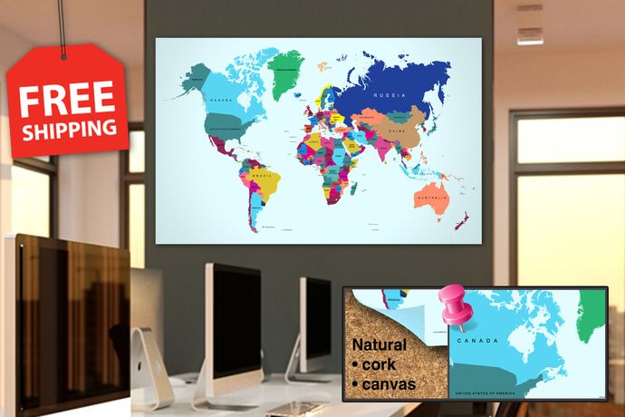 Push pin world map panel set on cork board Detailed world map with
