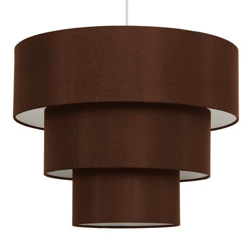 Modern 3 Tier Chocolate Brown Fabric Ceiling Pendant Light Shade