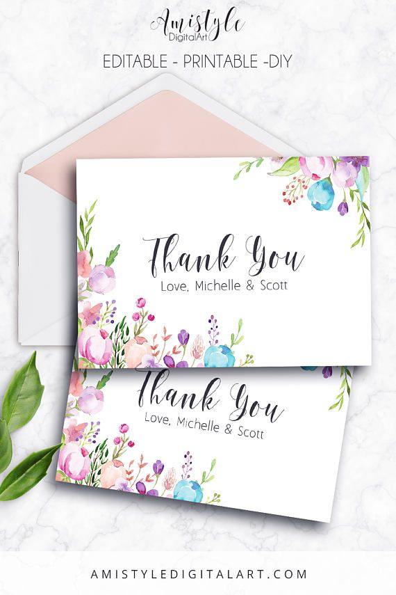 Thank You Card, Floral, Editable PDF, Thank You Card, Printable