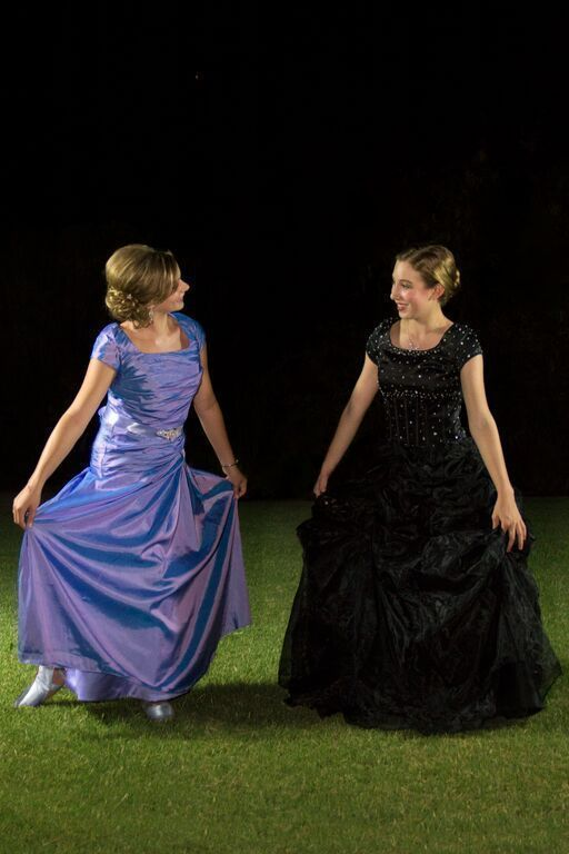 Our dresses Elle (left) and Odette (right) - Modest Prom Dresses - Modest Black Ballgown - Periwinkle Blue Prom Dress - Prom Dress with Sleeves - Modest Formal - Modest Homecoming Dress - Bridesmaid Dresses #modestprom