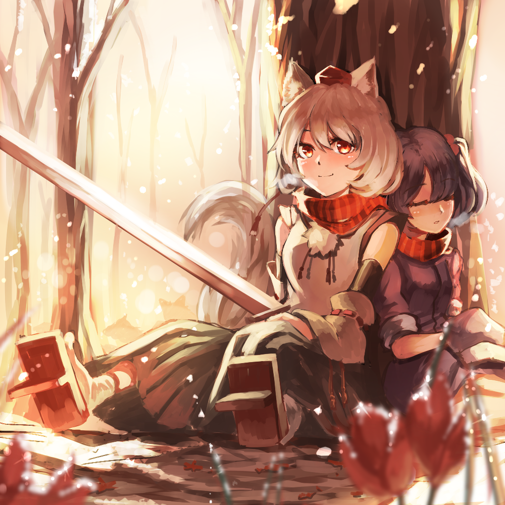 冬のにとり もみじ touhou momiji inubashiri and nitori アニメのネコ アニメキャラクター アニメファンタジー