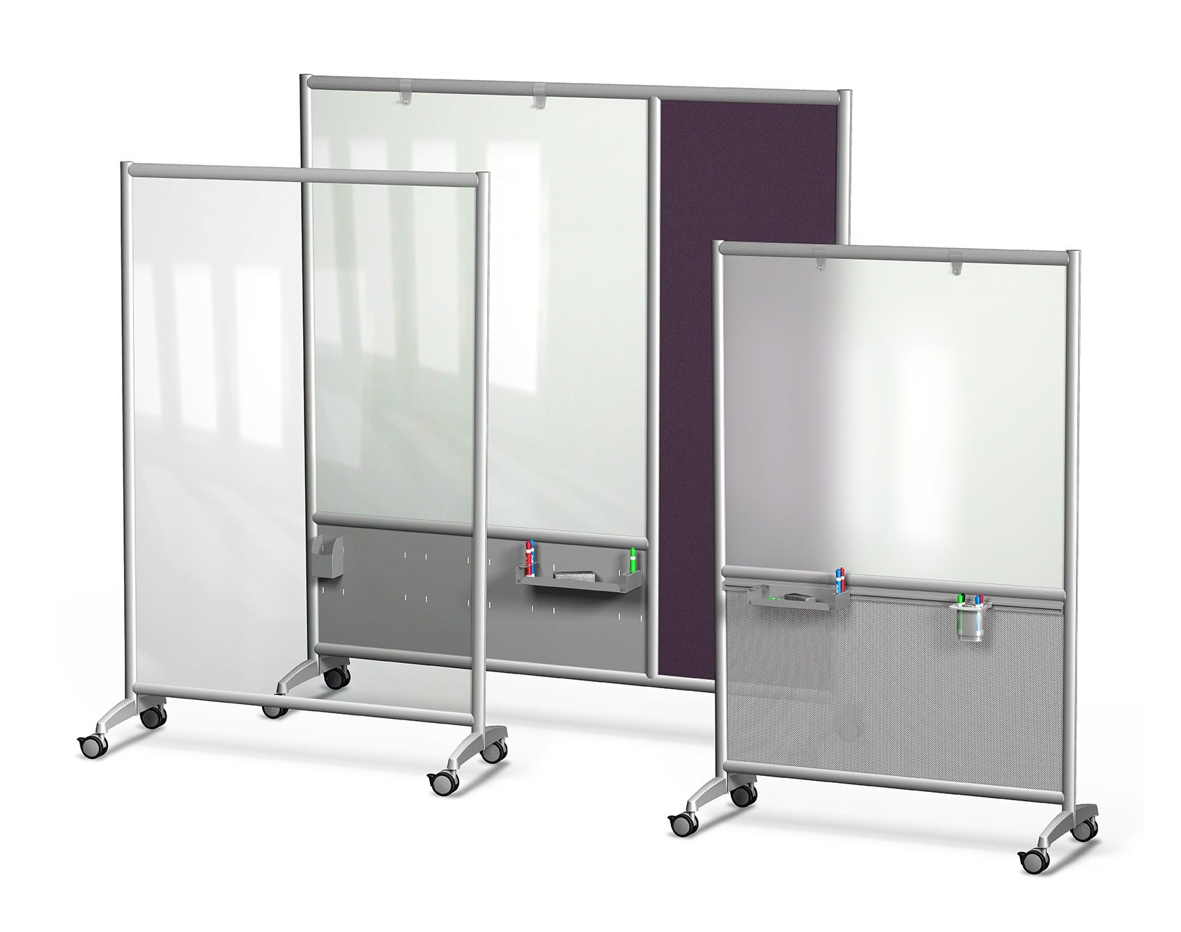 Mobile Glass Dry Erase Boards Available in clear frosted or white glass European design engineered to be easy to move and durable