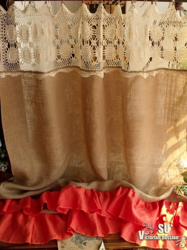 CREAM HAND Crochet SHABBY Rustic Chic Burlap SHOWER Curtain Orange Coral Ruffles
