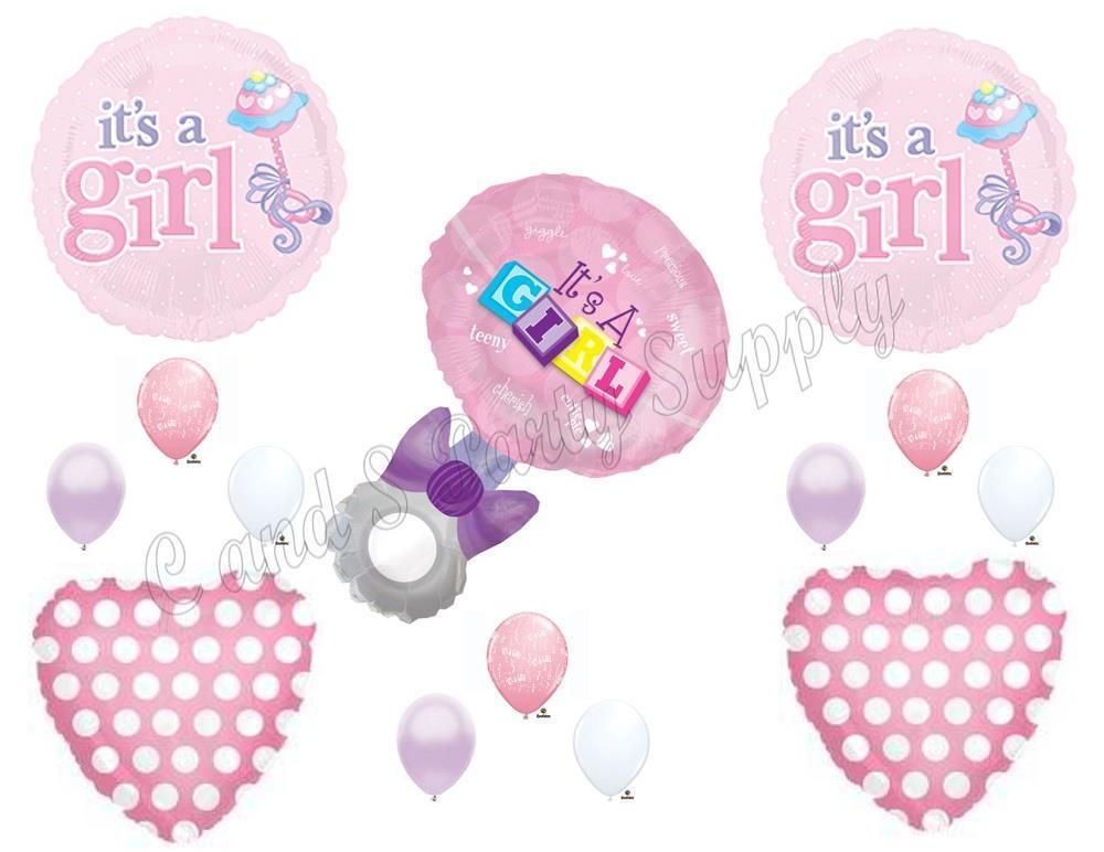 IT'S A GIRL BABY RATTLE Shower Balloons Decoration Supplies Heart Pink #Anagram #1STbIRTHDAY