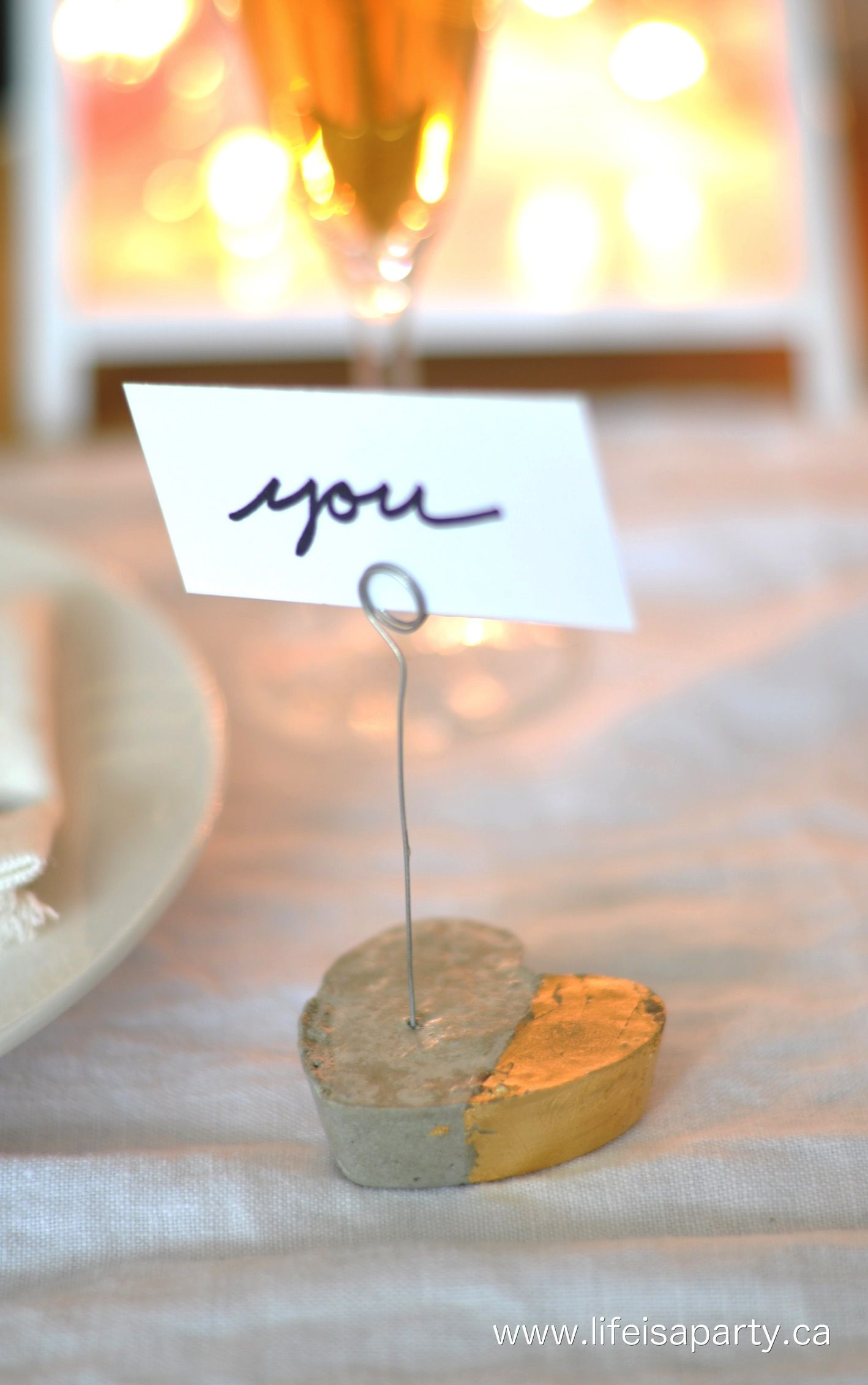 DIY Cement Heart Place Card and Holders Easy to make with a dollar store baking tray mould and some quick dry cement Great for Valentine s Day