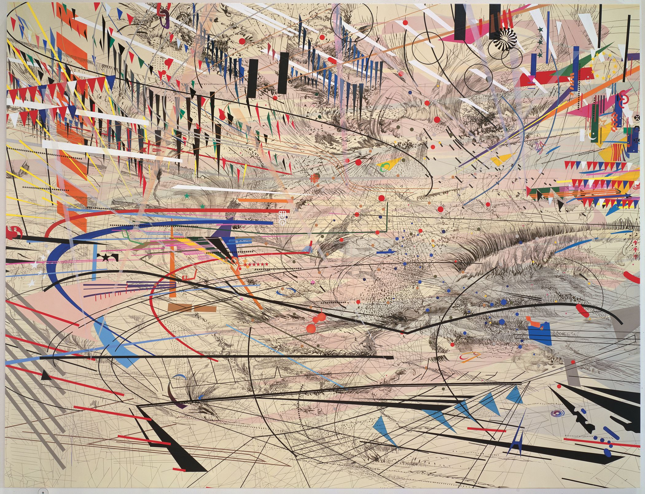 Approximately eight by eleven feet, Julie Mehretu's three separate pieces of her Stadia series seem to emanate, each from a slightly different center, with international flags and corporate logos t...