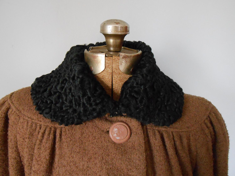 1930s Wool Boucle Coat Black Persian Lamb Trim Vintage Women's Small Medium Clothing (150.00 USD) by MDMvintage
