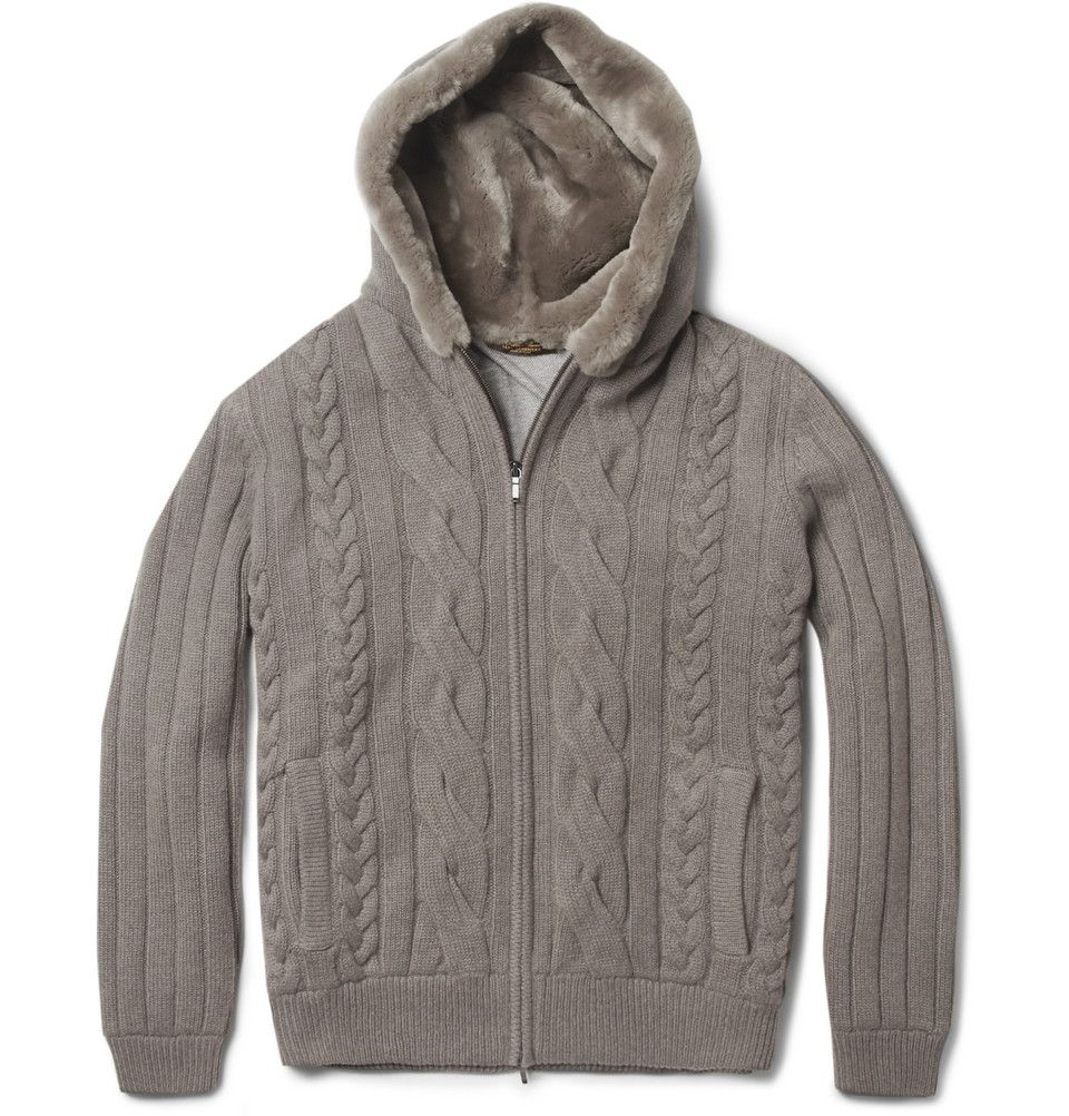 Loro Piana Beaver Fur-Lined Hood Baby Cashmere Cardigan