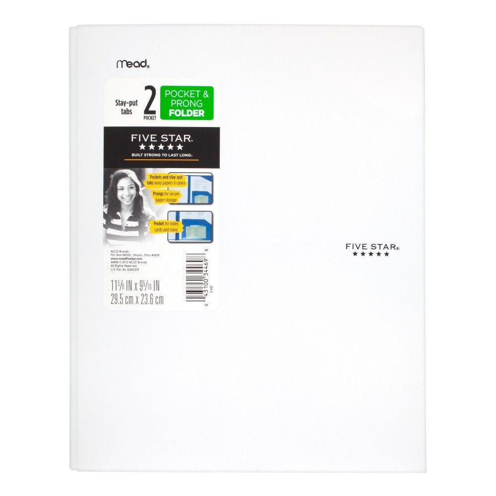 Five Star Plastic Folder With Prongs 2 Pockets