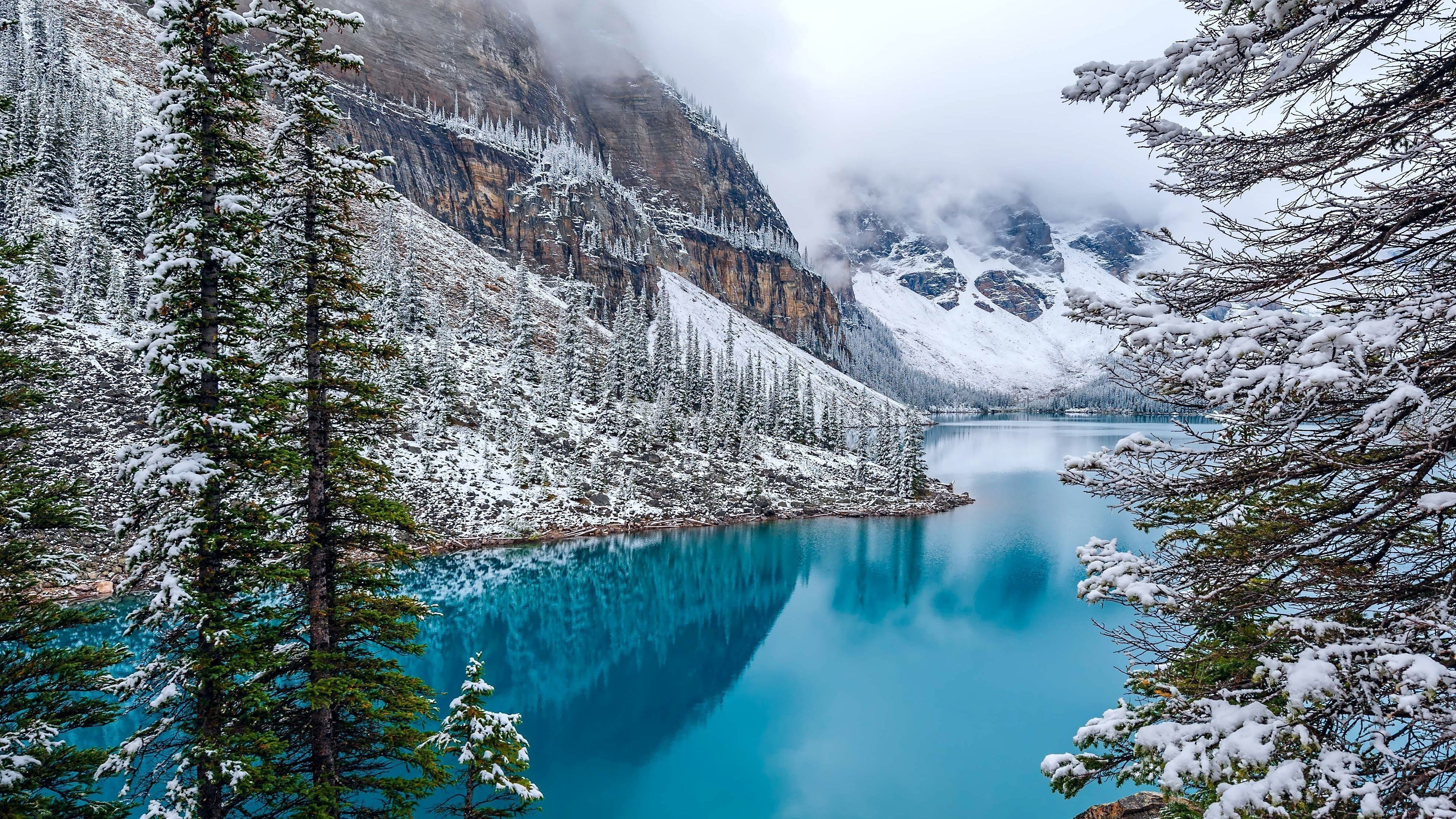 Moraine Lake 4k Winter Mountains Banff National Park