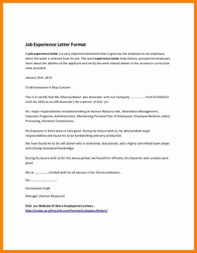 Work Experience Certificate Sample Pdf Job Resumed Employment